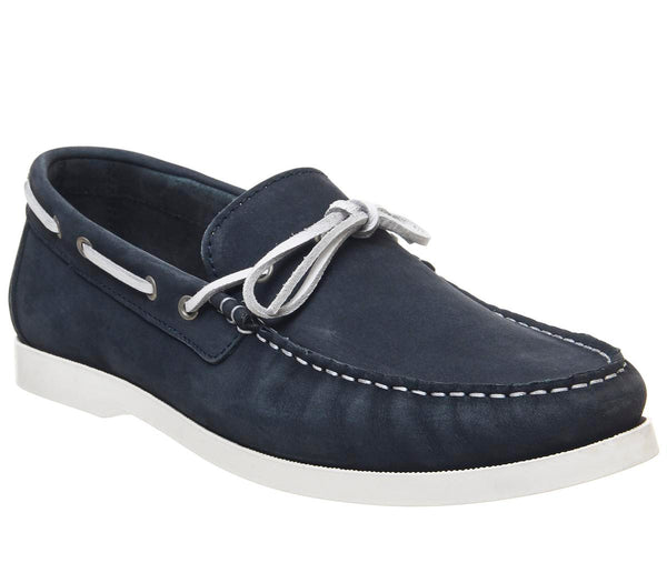 Mens Office Crafty Boat Shoe Navy Nubuck