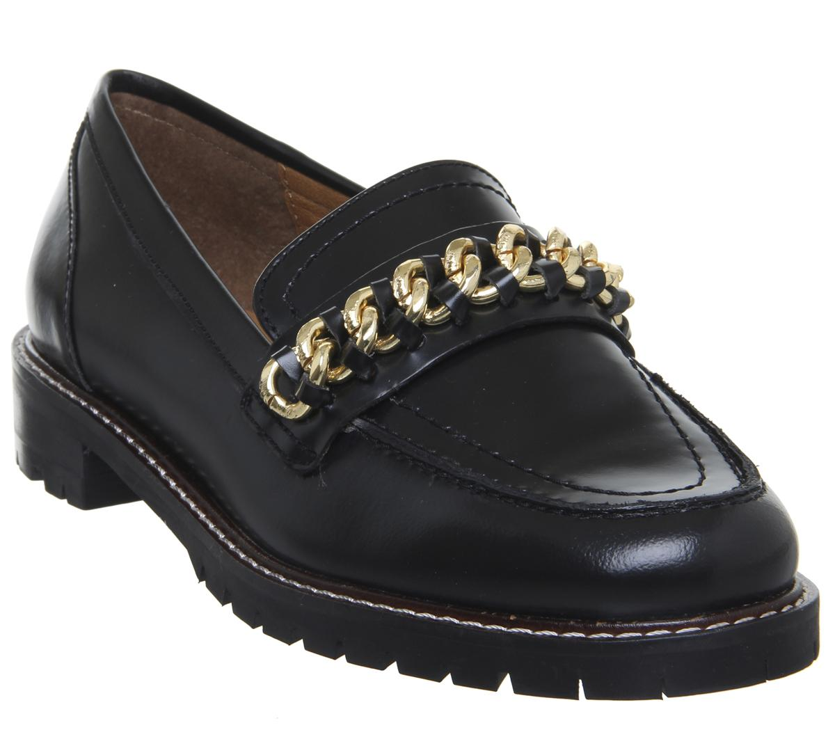 Womens Office Fenella Chain Loafer Black Box Leather Gun Metal Chain