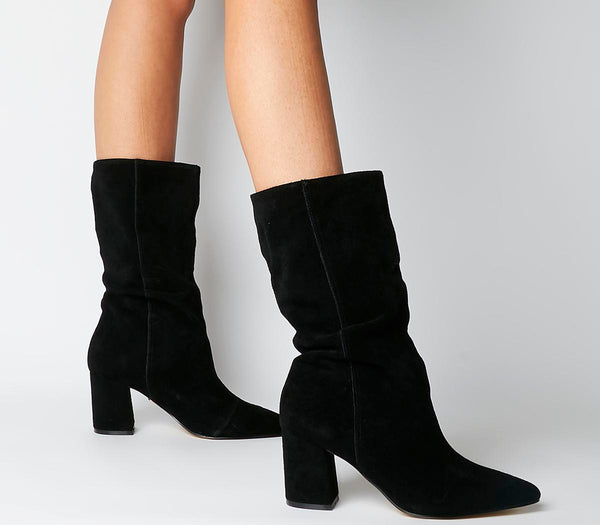 Womens Office Karla Pointed Block Calf Boot Black Suede