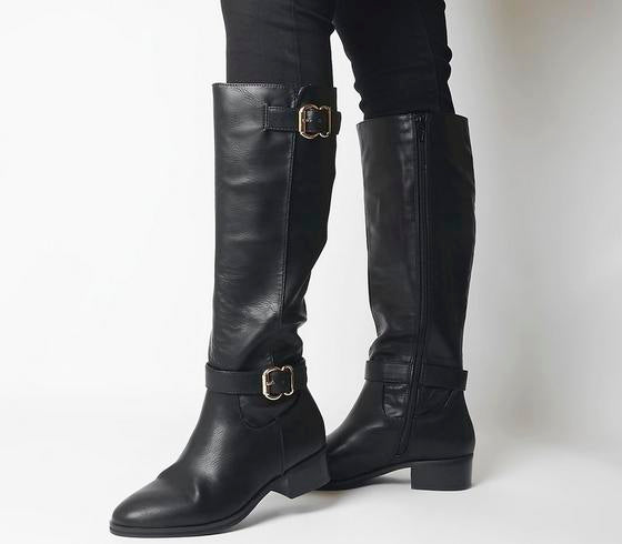 Womens Office Kane Buckle Detail Riding Boot Black
