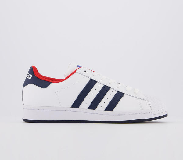 Womens Adidas Superstar White Navy Red