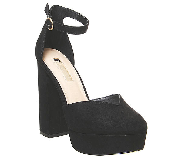 Womens Office Hatty Closed Platform Sandal Black