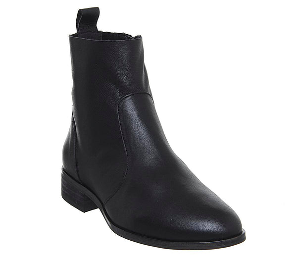 Womens Office Ashleigh Wf Flat Ankle Boots Black Leather