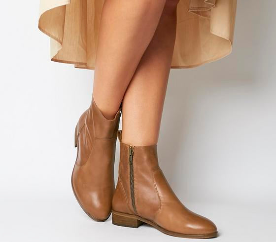 Womens Office Ashleigh Wf Flat Ankle Boots Tan Leather