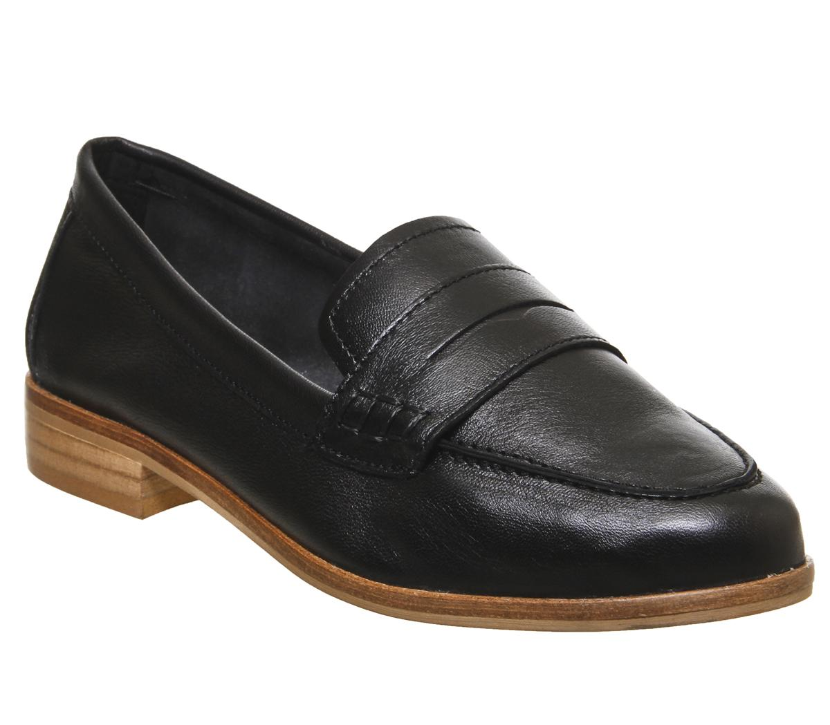 Womens Office Friendship Soft Loafer Black Leather