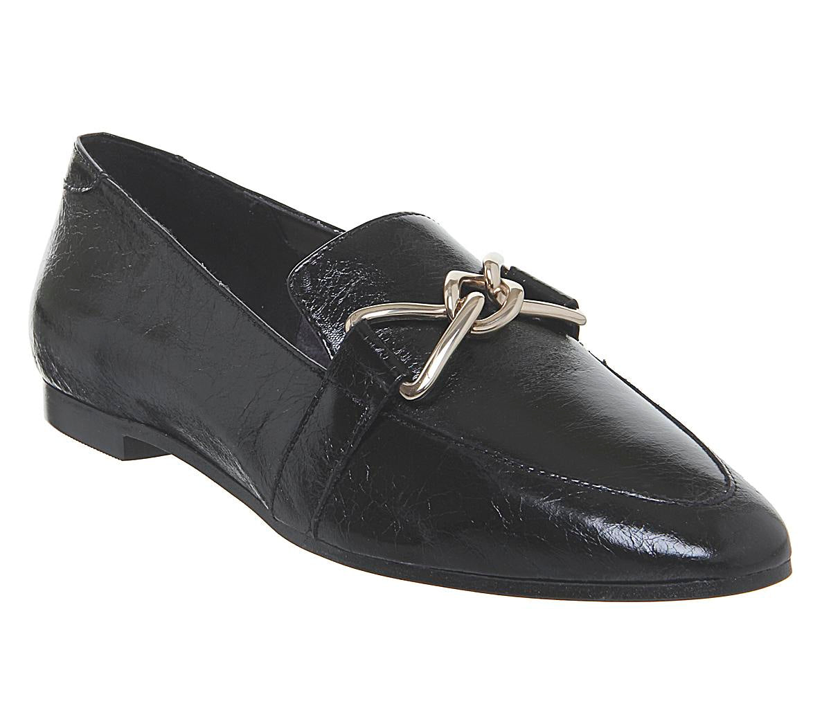 Womens Office Favoured Bow Trim Loafer Black Leather