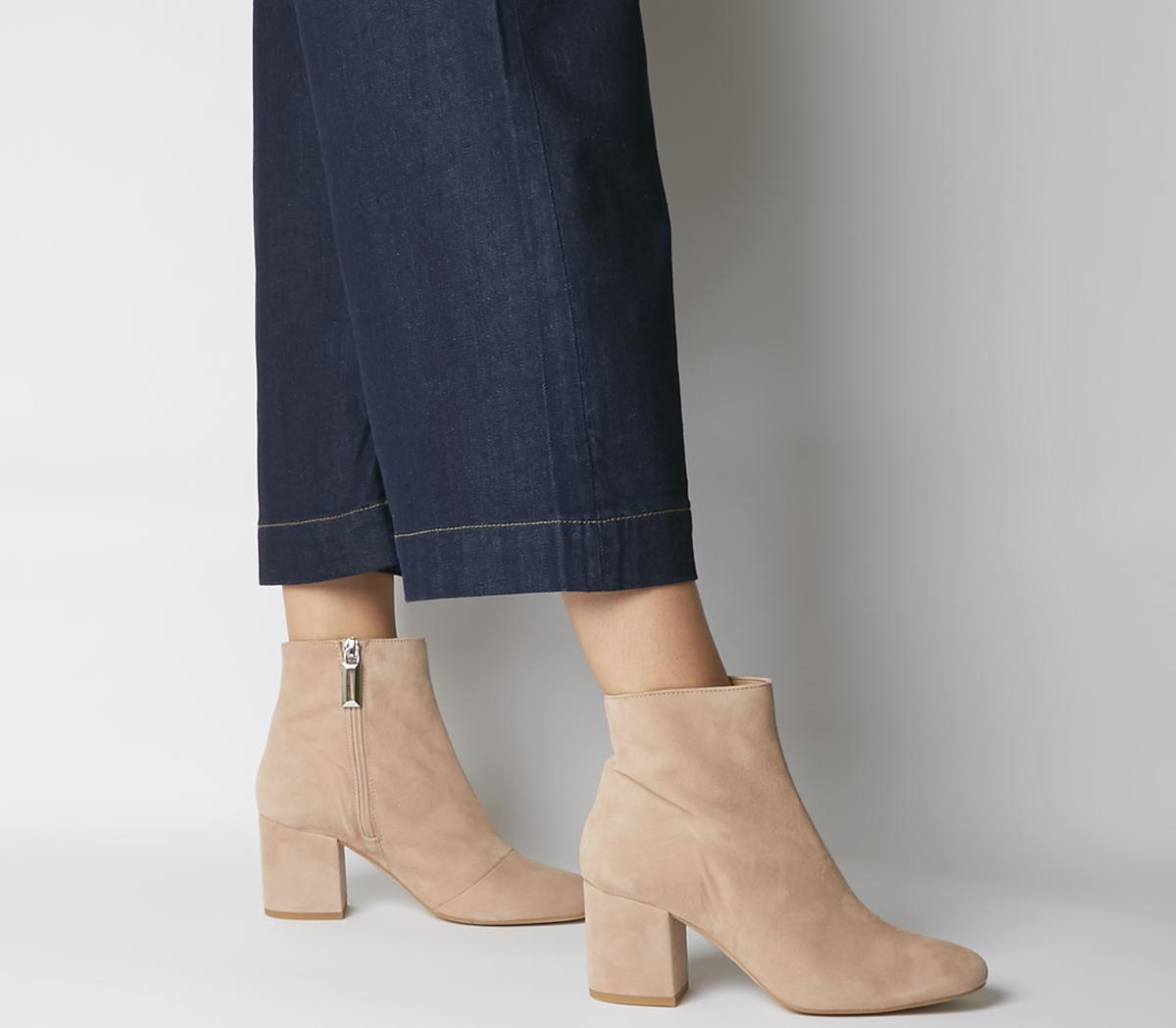 Womens Office Amoretti Block Heel Boot Nude Suede