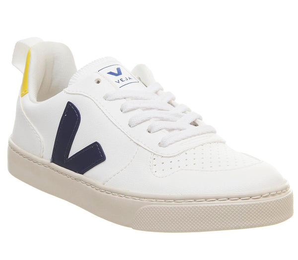 Kids Veja V10 Youth White Cobalt Gold Yellow Lace