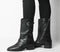 Womens Office Kick Calf Biker Boot Black Leather
