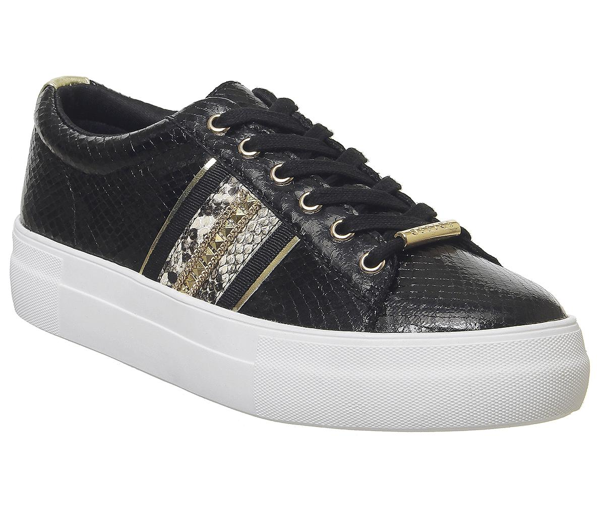 Womens Office Freestyle Lace Up Trainer Black / Gold