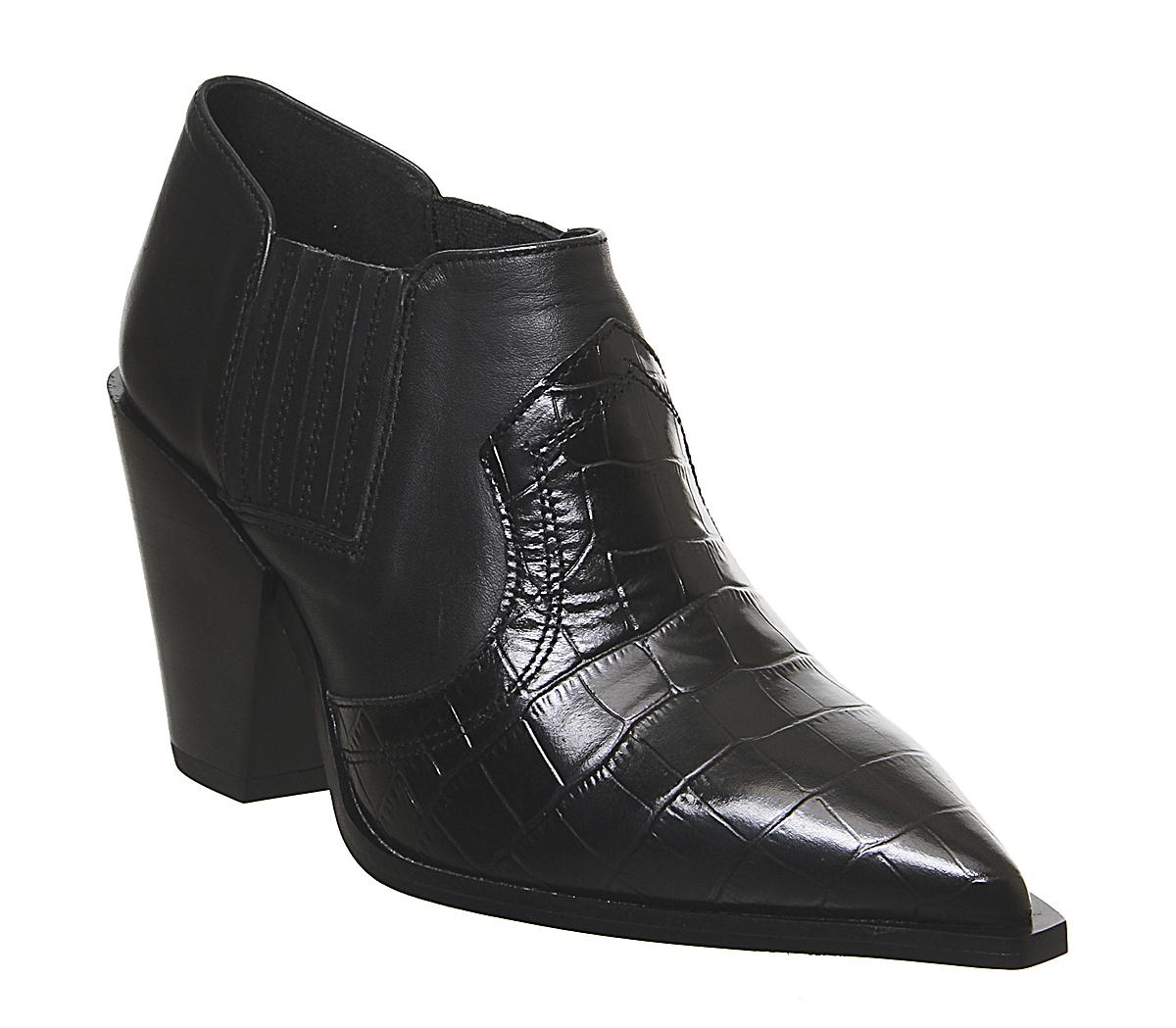 Womens Office Minnesota Western Shoe Boot Black Leather Croc Mix
