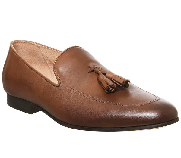 Mens Office Manta Tassel Loafer Mid Brown Leather