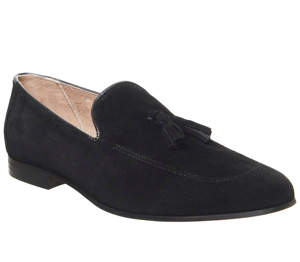 Mens Office Canter Tassel Loafer Black Suede