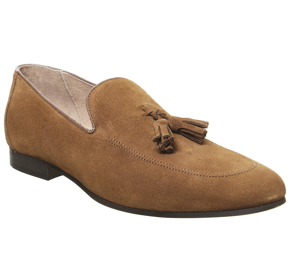 Mens Office Canter Tassel Loafer Tan Suede