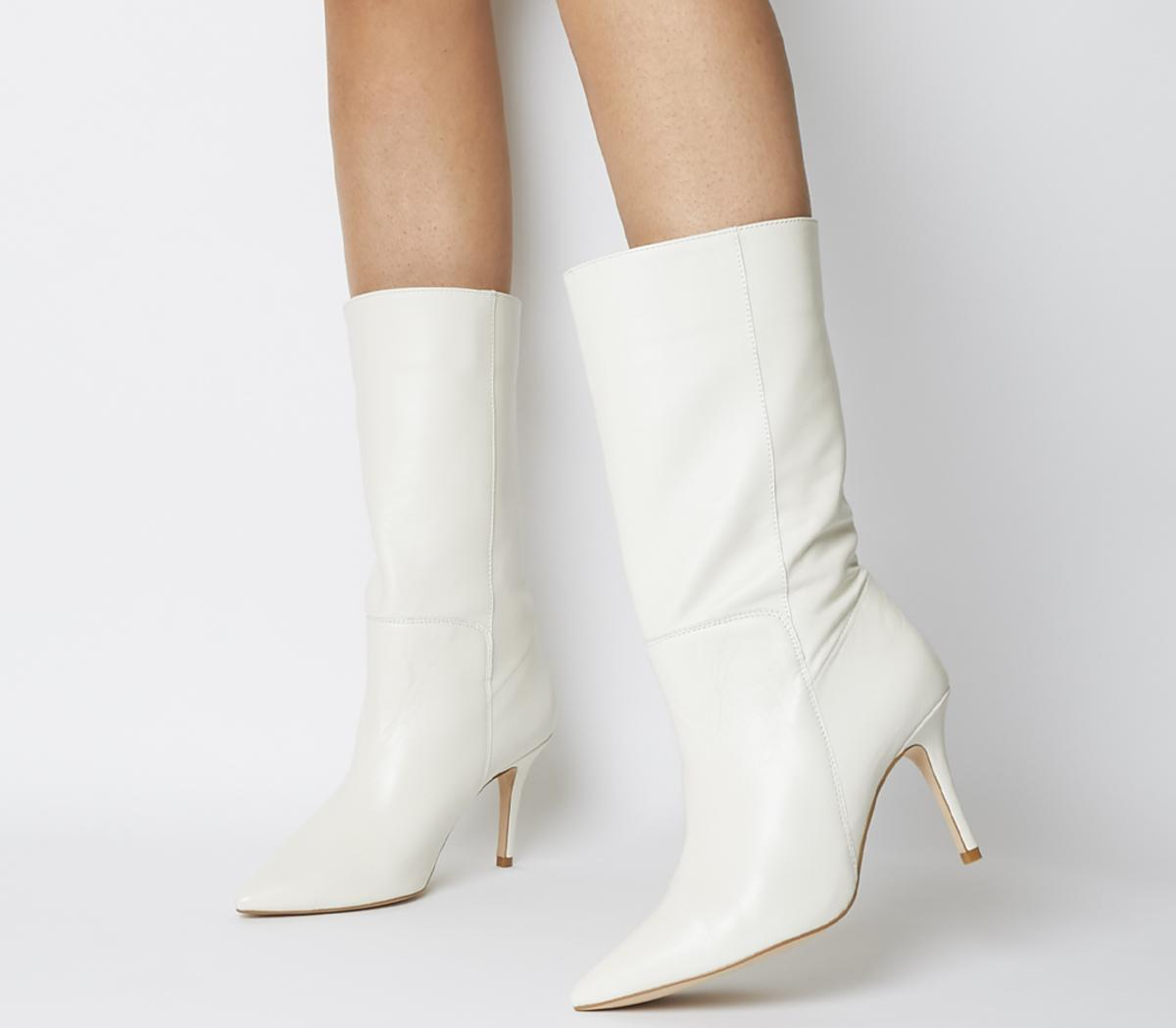 Womens Office Koffe Pointed Calf Boot Off White Leather