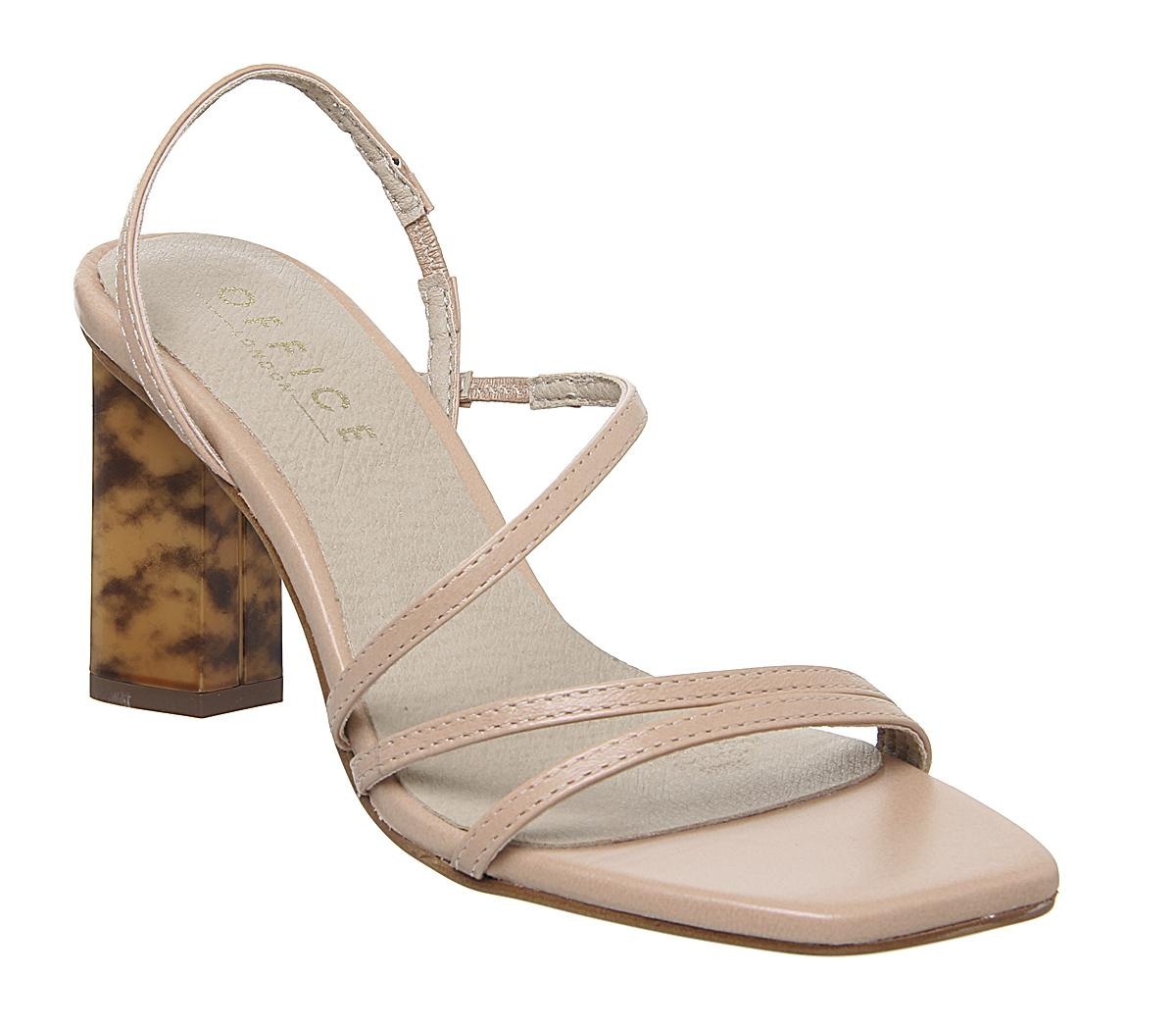 Womens Office Mocktail Strappy Feature Heel Nude Leather