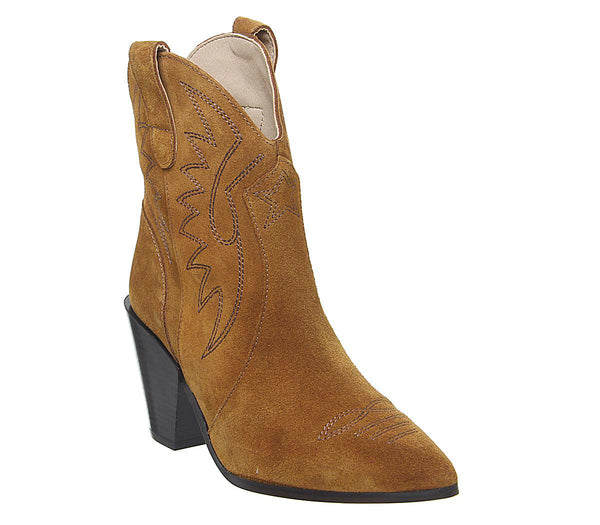 Womens Office AGame High Cut Emroidered Western Tan Suede