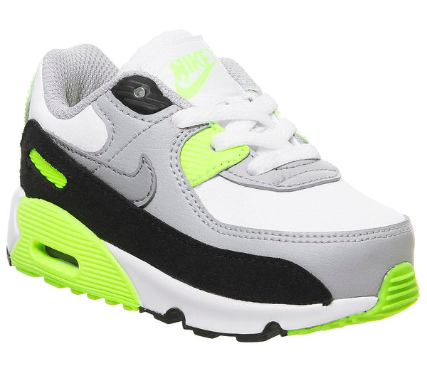 Kids Nike Air Max 90 Infant White Particle Grey Smoke Grey Yellow