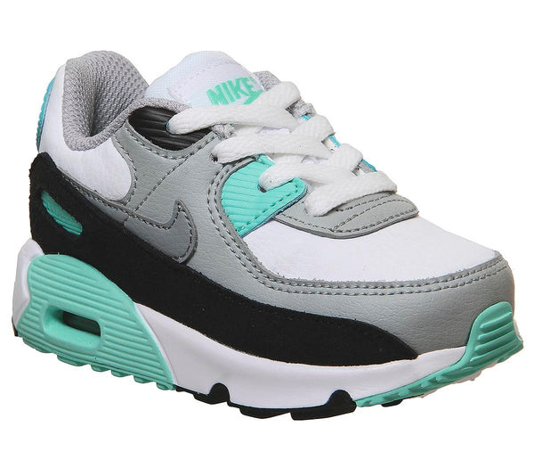 Kids Nike Air Max 90 Infant White Particle Grey Smoke Grey Turquoise Trainers