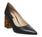 Womens Office Minty Feature Heel Court Shoe Black Leather
