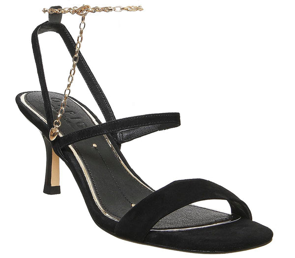 Womens Office MerryGoRound Strappy Sandal With Ankle Chain Black Suede