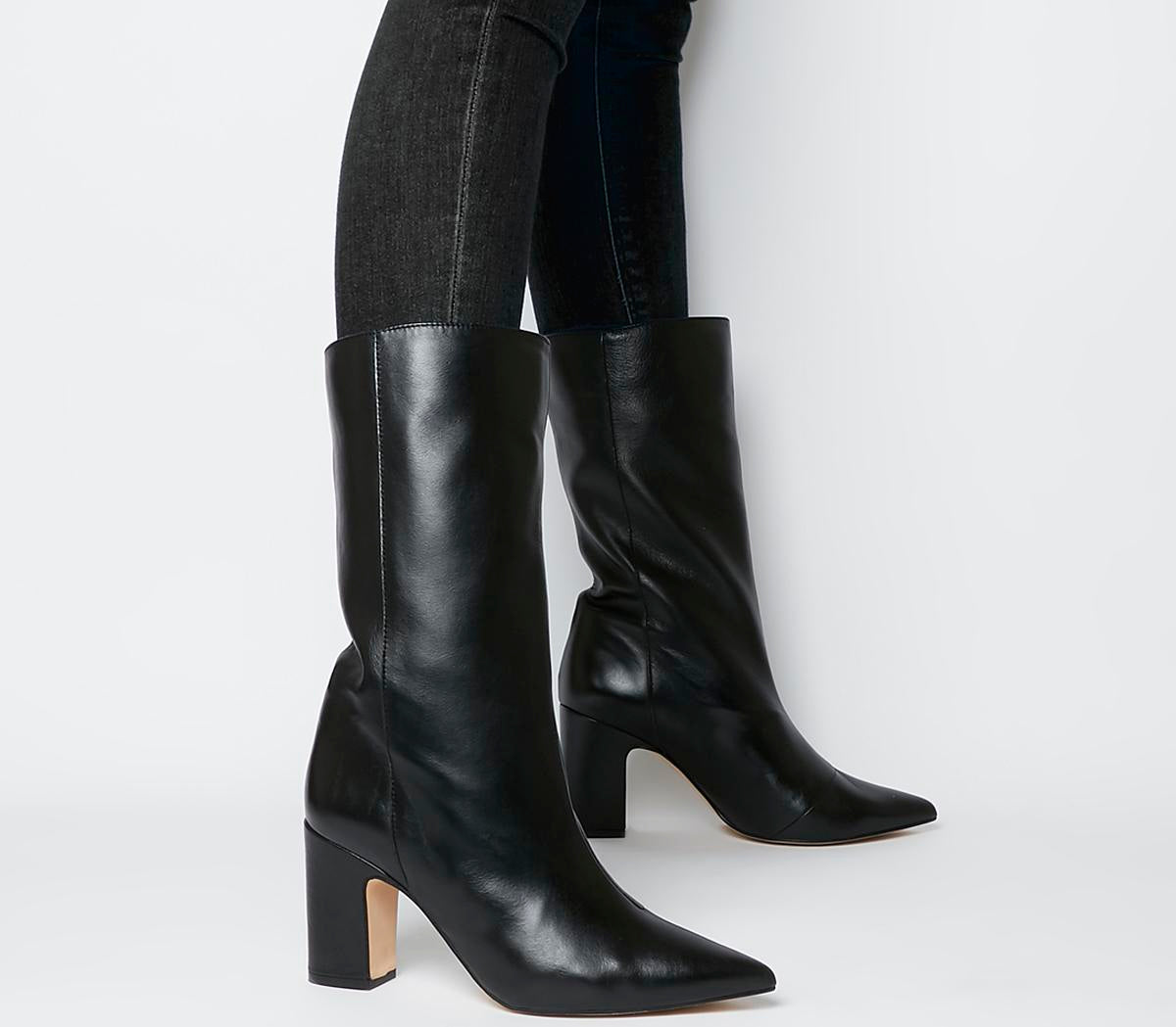 Womens Office Karma Calf Block Heel Boot Black Leather