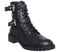 Womens Office Accomplice Lace Up Buckle Boot Black Leather Gold Hardware