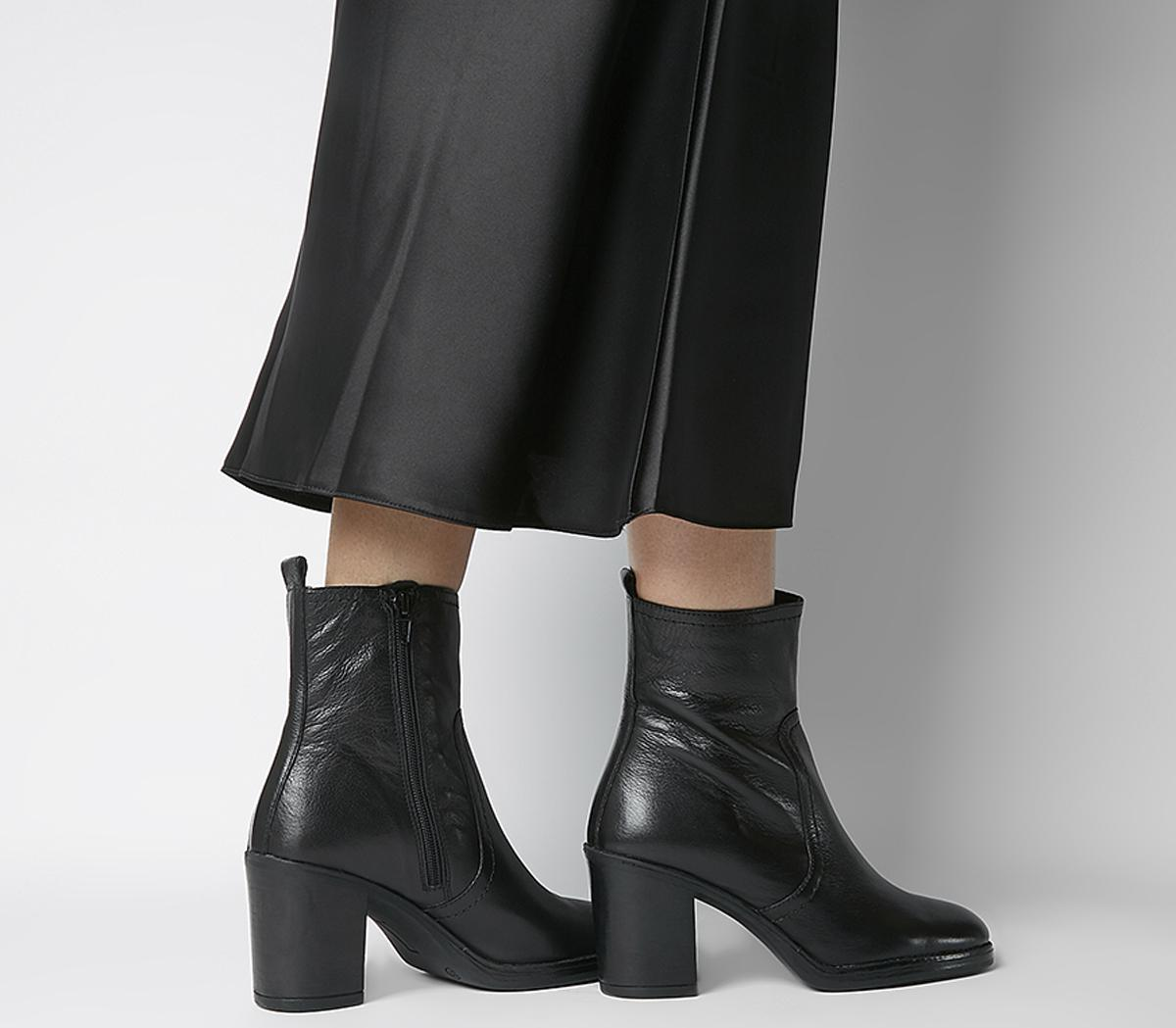Womens Office Away Casual Heeled Boot Black Leather