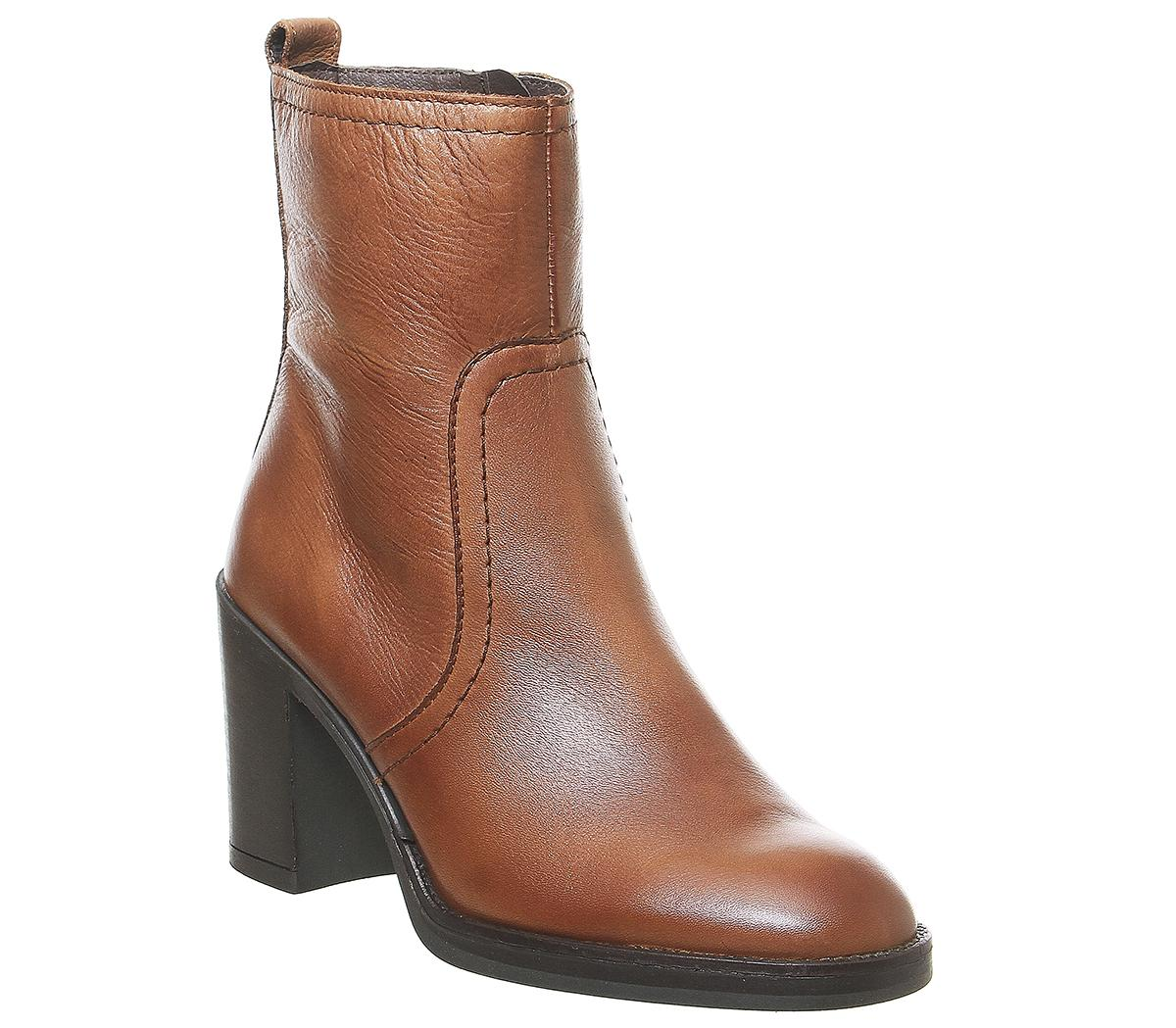 Womens Office Away Casual Heeled Boot Tan Leather