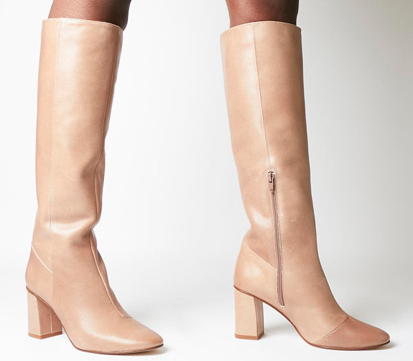 Womens Office Kingdom Block Heel Knee Boot Taupe
