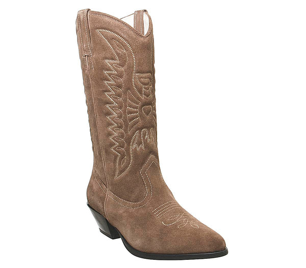 Womens Vagabond Emily Cowboy Boot Taupe Suede