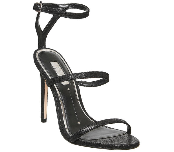 Womens Office Hidden Treasure Triple Strap High Sandal Black Printed Leather
