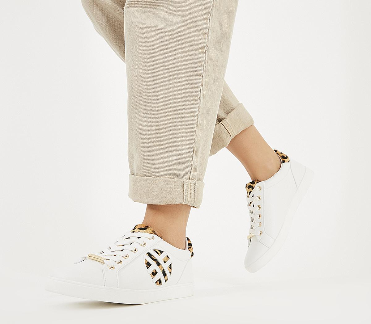 Womens Office Front Row Branded Trainer White Leopard Mix