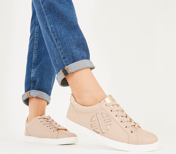 Womens Office Front Row Branded Trainer Nude Rose Gold Mix