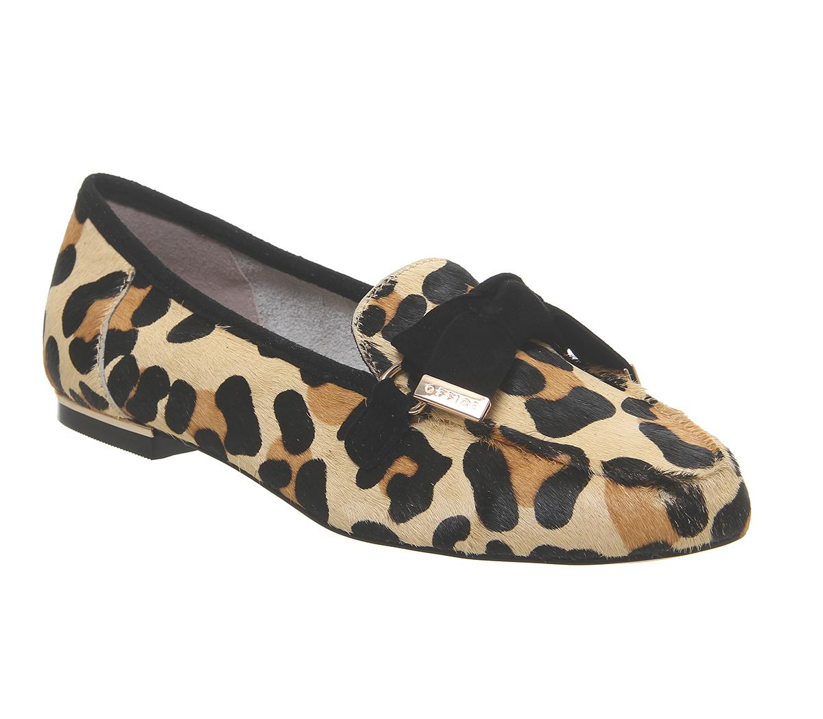 Womens Office Fortuna Bow Loafer Leopard Pony