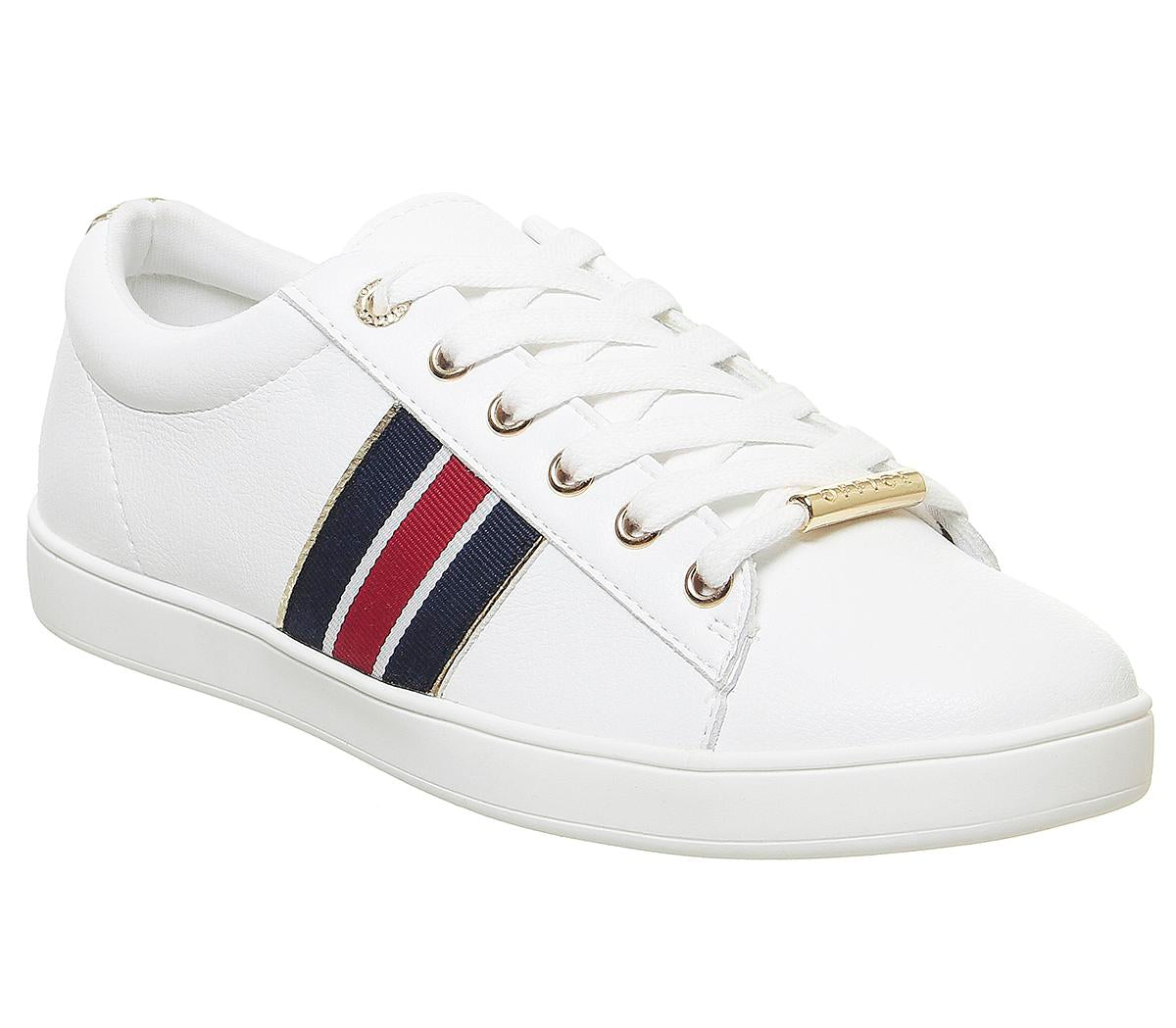 Womens Office Farewell Lace Up Trainer White Navy Red