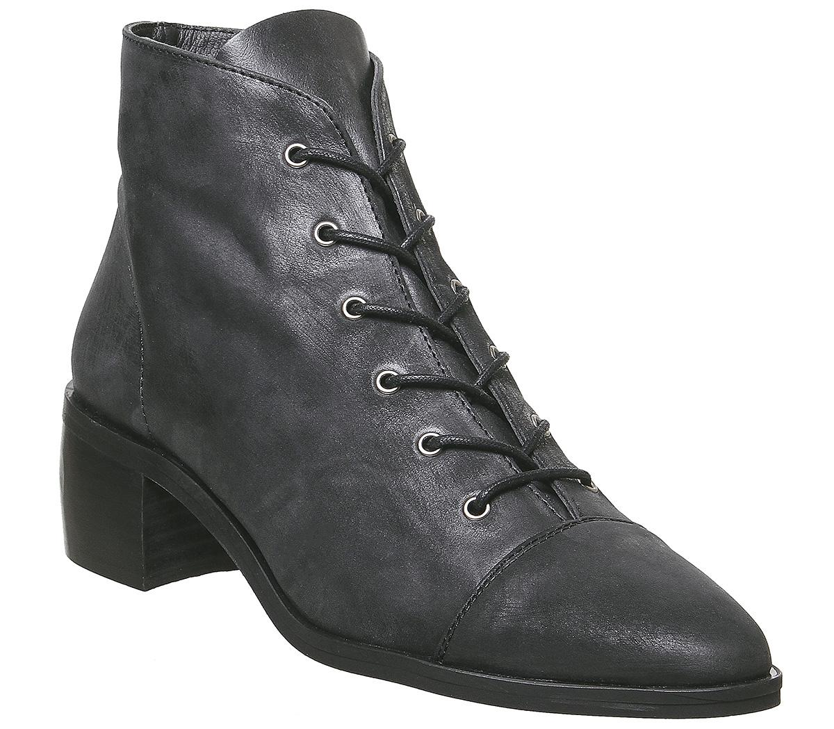 Womens Office Accord Lace Up Boot Black Leather