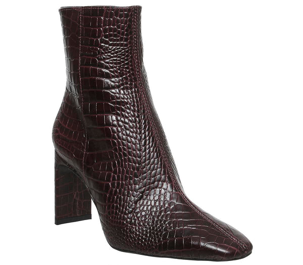 Womens Office Alaya Smart Boot Burgundy Croc Leather