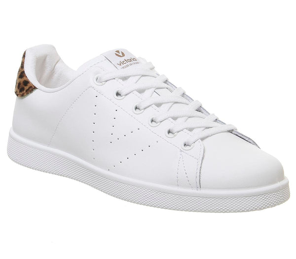 Womens Victoria Tenis White Leopard Trainers