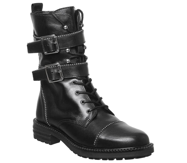 Womens Office Another One High Cut Lace Up Boot Black Leather With Ball Baring