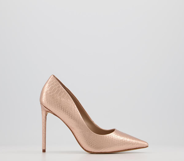 Womens Office Harlem Point Court Shoe Rose Gold Snake Leather