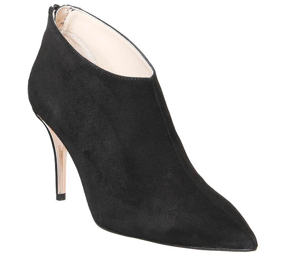 Womens Office Member Feature Heel Shoeboot Black Suede Rose Gold Heel Detail
