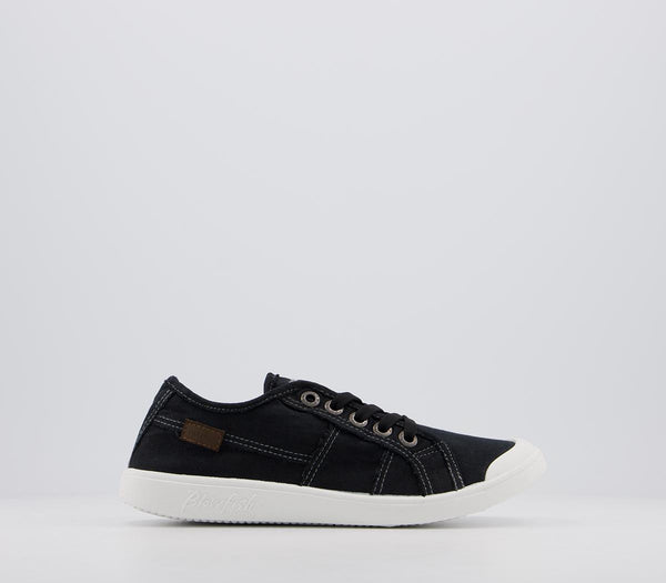Odd sizes - Womens Blowfish Vesper Sneakers Black Color Washed Canvas UK Sizes R5/L6