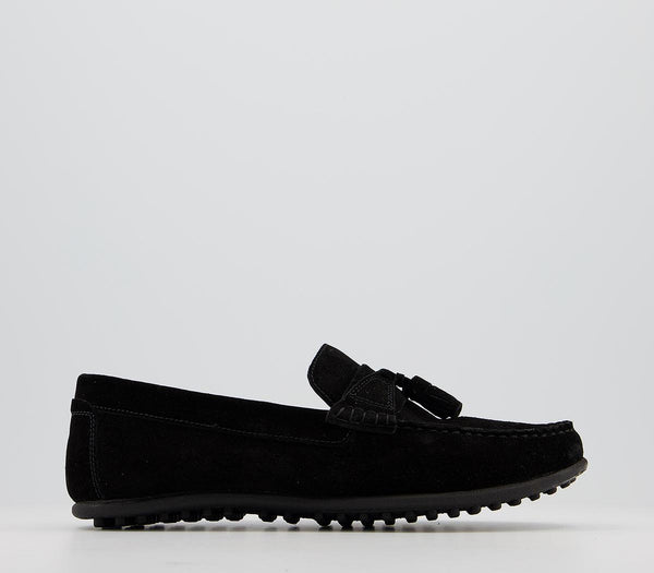 Mens Office Cruise Tassel Driver Black Suede