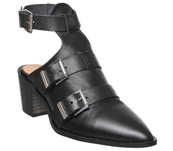 Womens Office Moscow  Buckle Shoeboot Black Leather