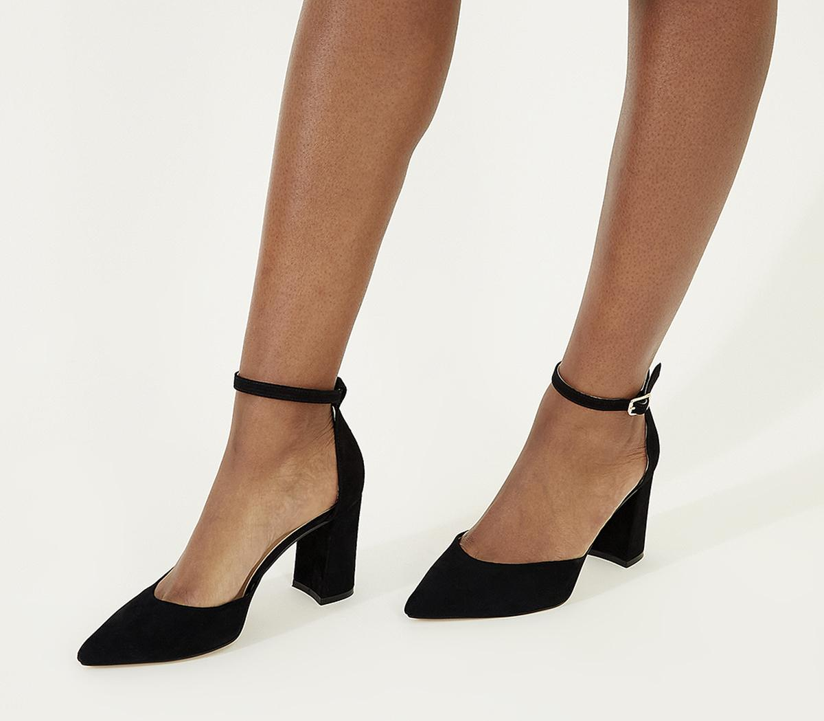 Womens Office Minnie Ankle Strap Court Black Suede
