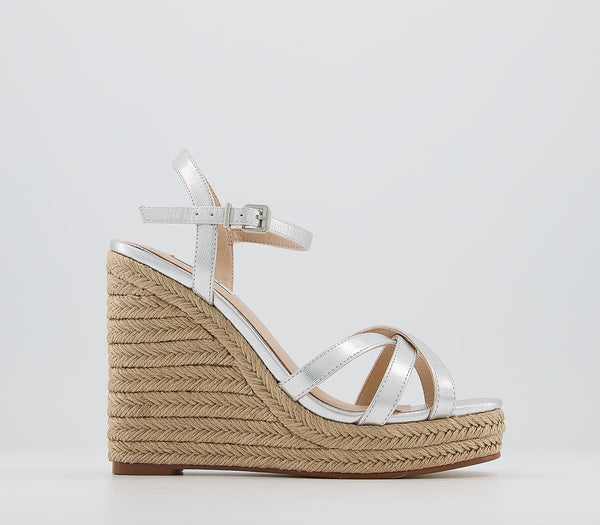 Womens Office Havoc Square Toe Espadrille Silver Lizard