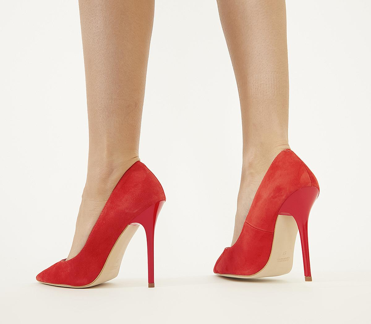 Womens Office Honestly Court Shoe Red Kid Suede