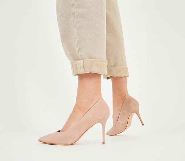 Womens Office Ministry Mid Heel Court Nude Suede