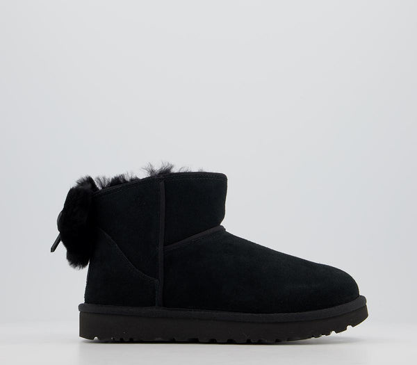Womens Ugg Classic Mini Bow Black Boot